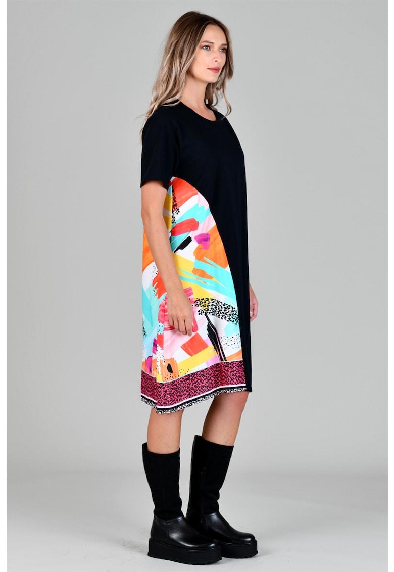 Rochie tip tricou cu segment contrastant Format-Lady