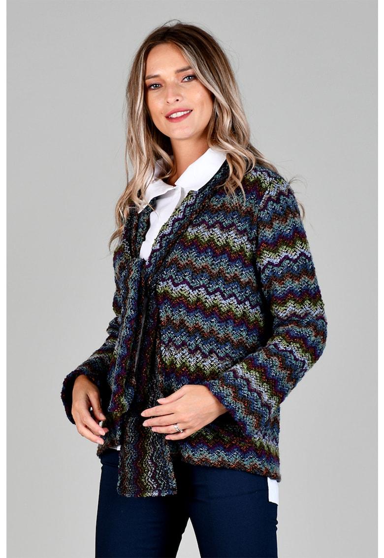 Cardigan din amestec de lana cu funda din panglici Format Lady fashiondays.ro