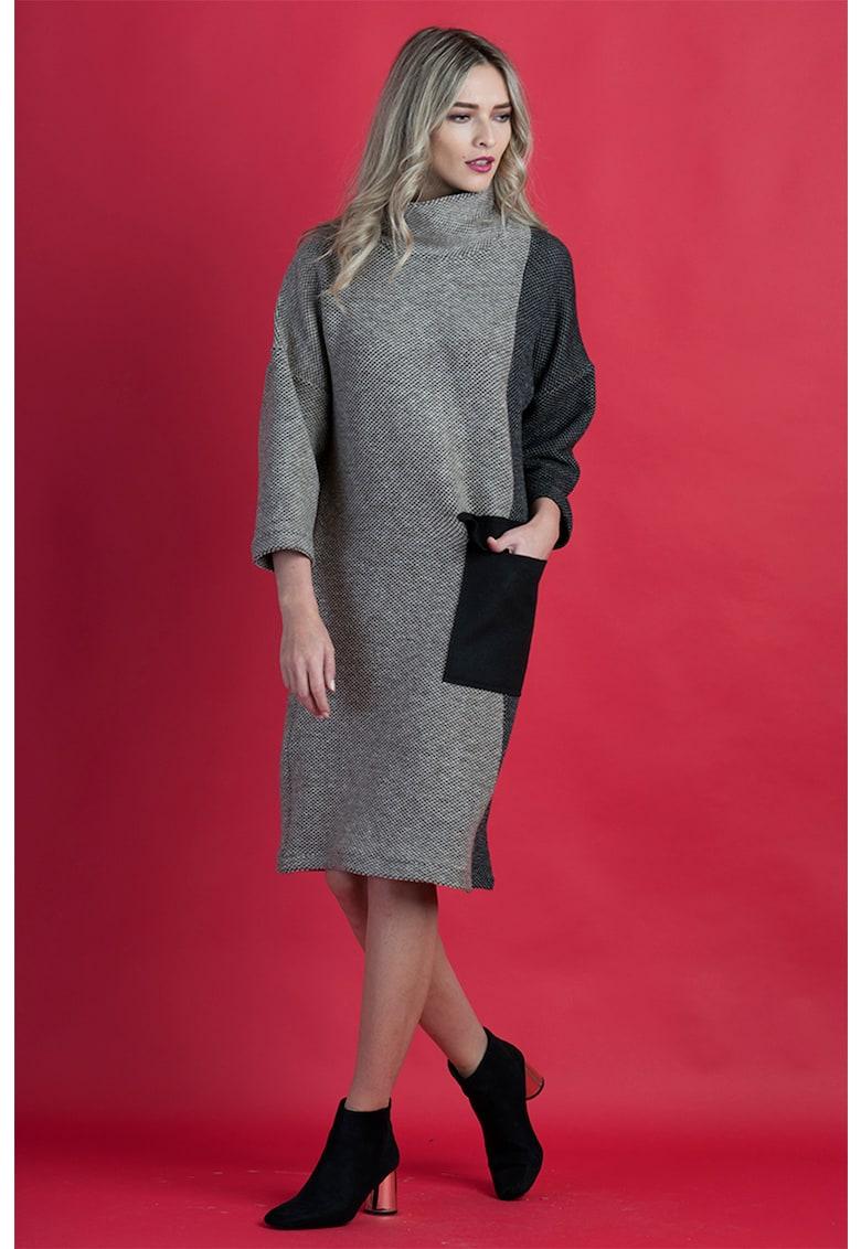 Rochie cu guler inalt si buzunar lateral Format-Lady