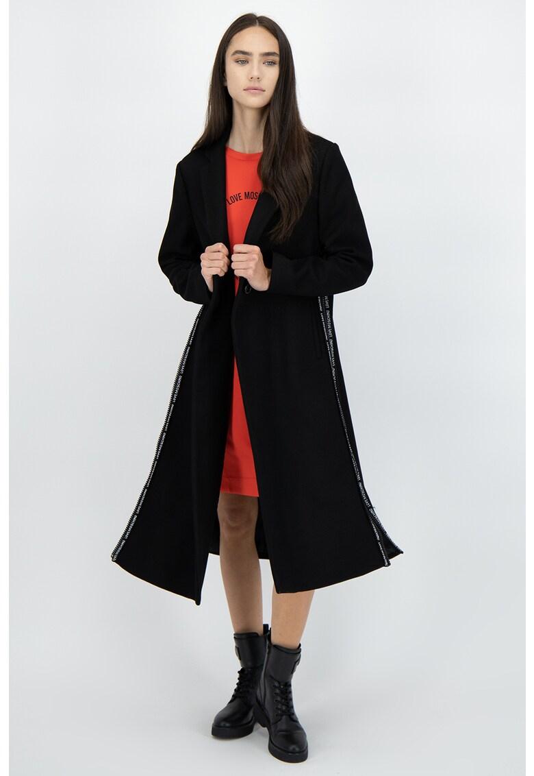 Palton din amestec de lana virgina cu slituri laterale