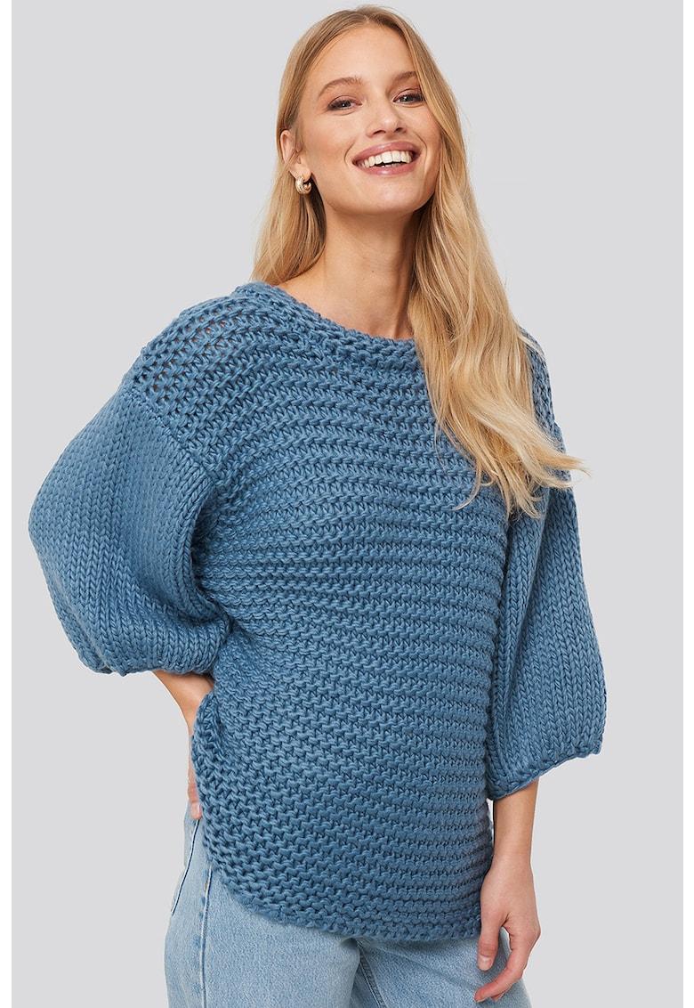 Pulover supradimensionat tricotat gros cu maneci cazute