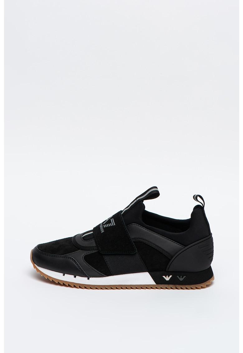 Pantofi sport de piele intoarsa cu banda cu velcro