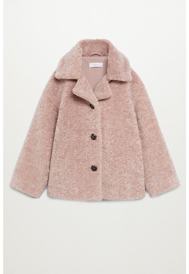 Palton din blana sintetica cu revere decupate Arison