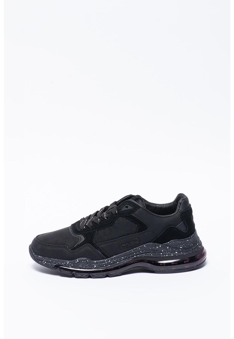 Pantofi sport cu talpa wedge si insertii din piele intoarsa