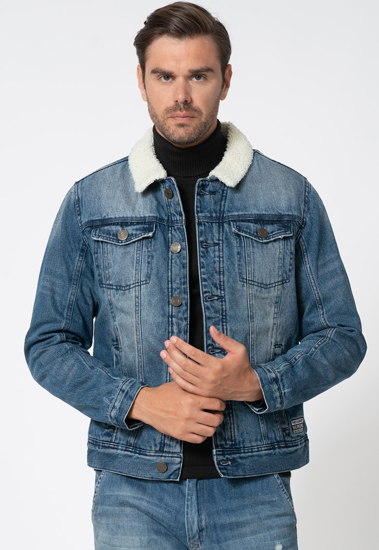 Jacheta din denim cu captuseala de blana shearling BLEND imagine 2021