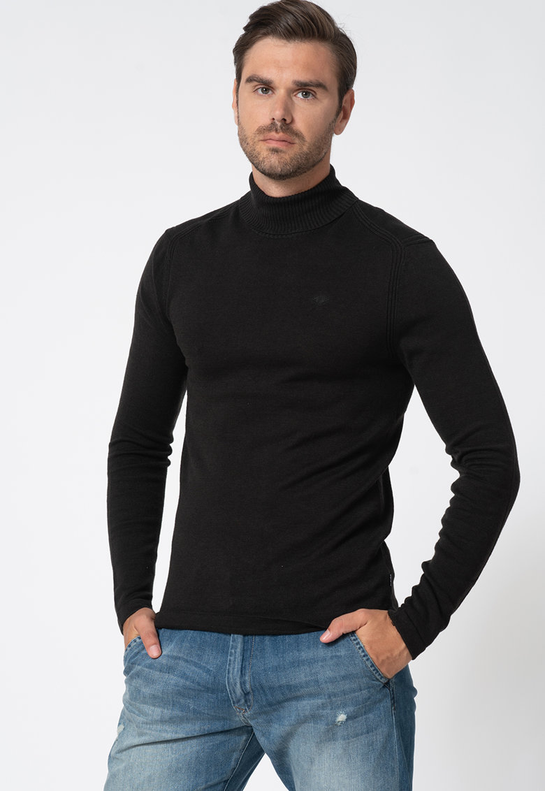 Pulover tricotat fin cu guler inalt de la BLEND