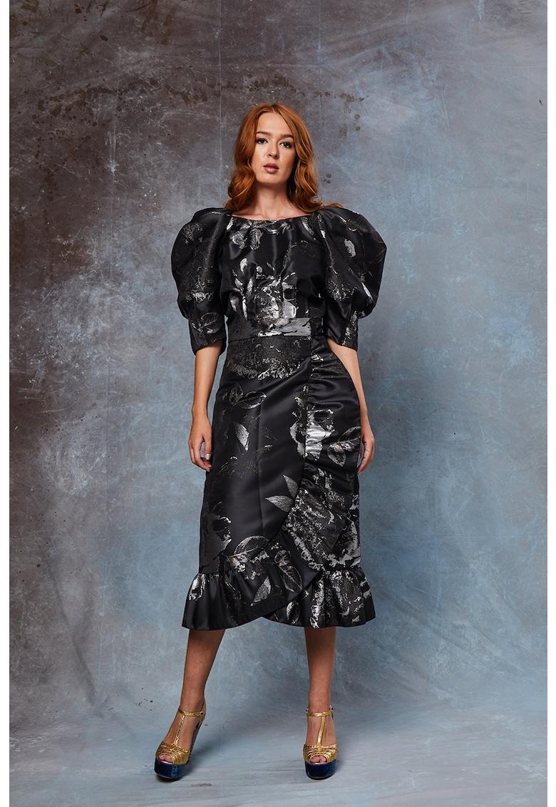 Rochie din brocart cu maneci bufante Marisa
