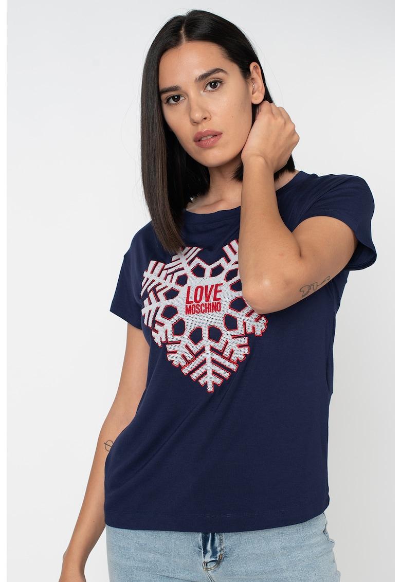 Tricou din amestec de modal cu fulg de nea in forma de inima