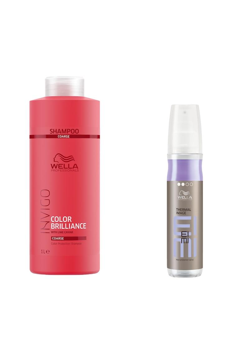 Wella Professionals Pachet promo : Sampon de par Invigo Brilliance - 1000 ml + Spray Wella Professionals Eimi Thermal Image pentru protectie termica - 150 ml