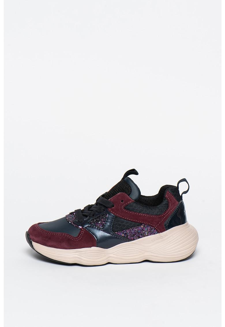 Pantofi sport din piele intoarsa si piele ecologica cu aplicatii cu paiete Bubblex