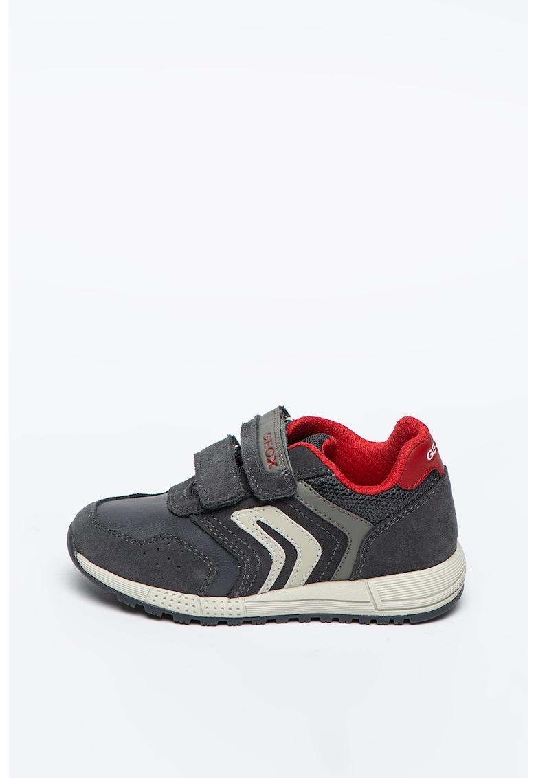 Pantofi sport de piele intoarsa cu garnituri de piele ecologica Alben de la Geox