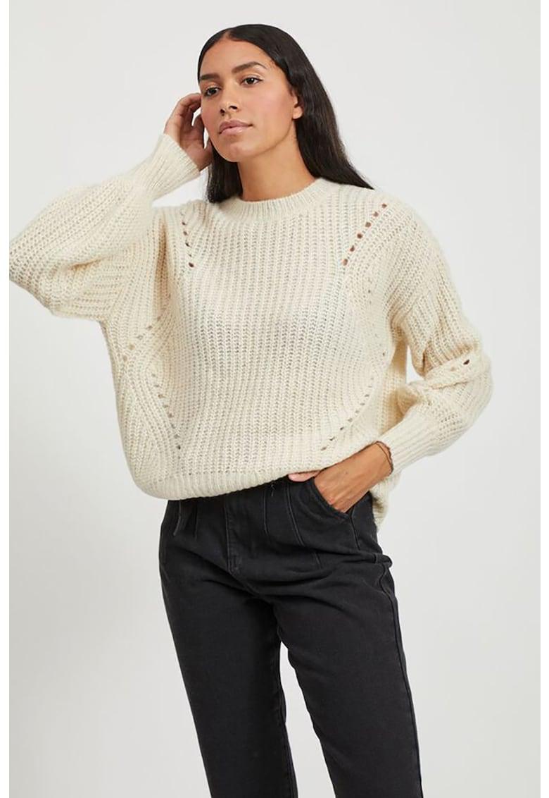 Pulover din amestec de lana cu perforatii