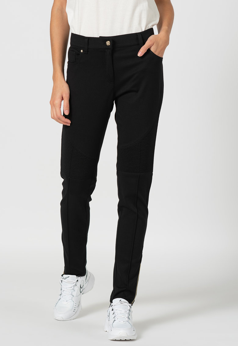 Pantaloni slim fit cu terminatii cu fermoar imagine