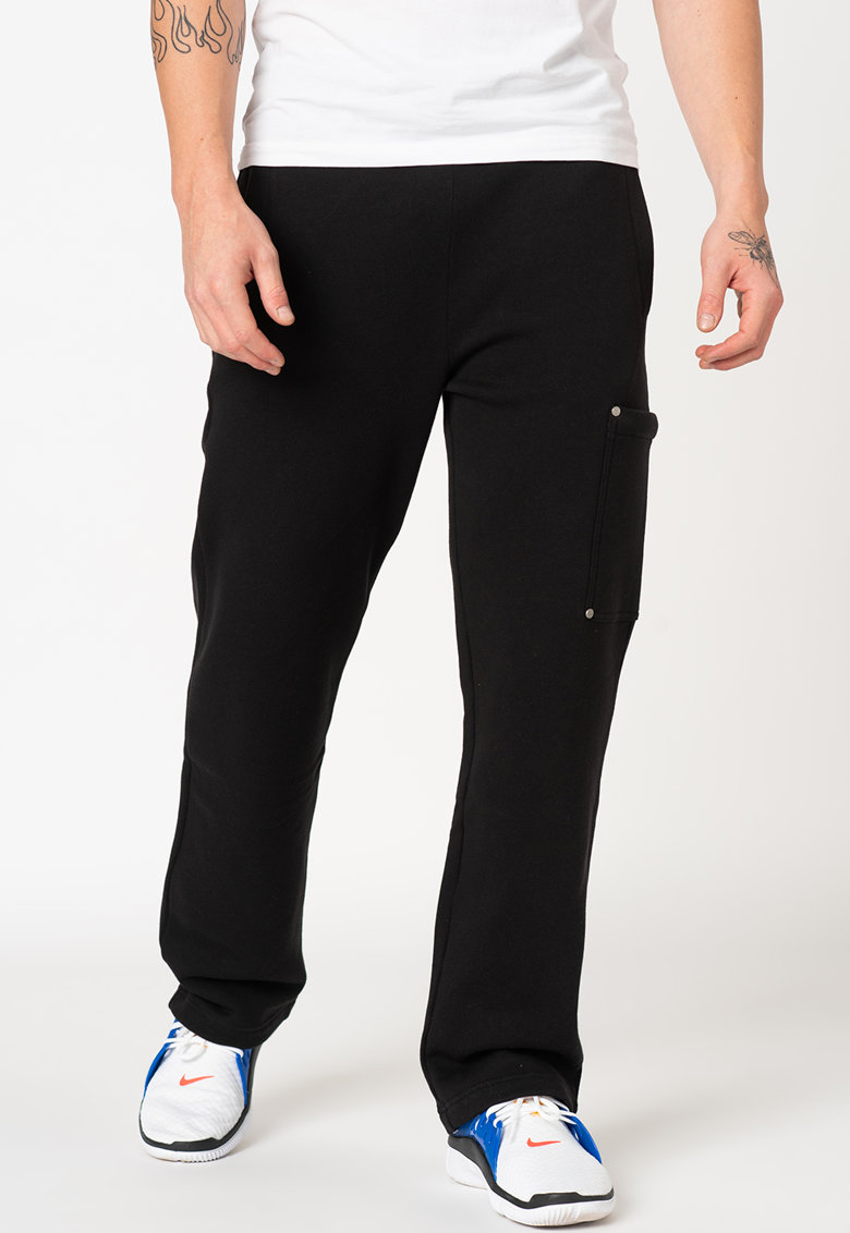 Pantaloni sport cu croiala dreapta si banda logo elastica