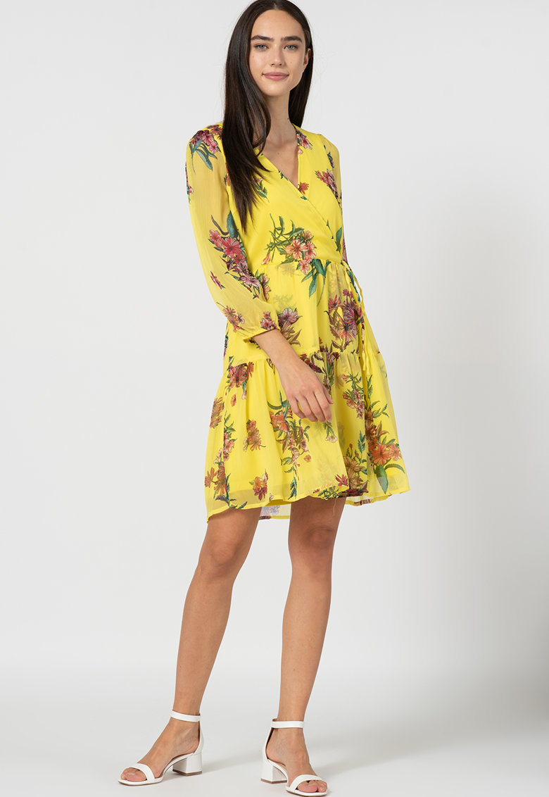 Rochie cu croiala petrecuta si model floral Wonda de la Vero Moda