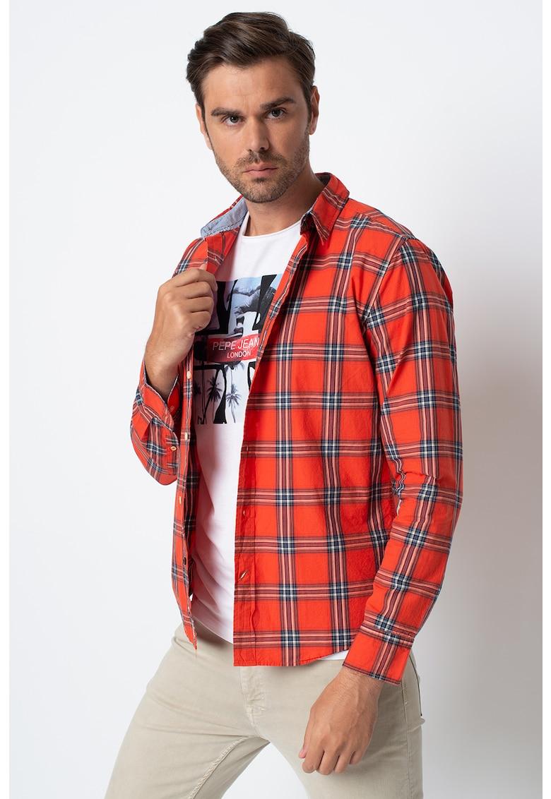 Camasa slim fit cu imprimeu in carouri Brooks poza fashiondays