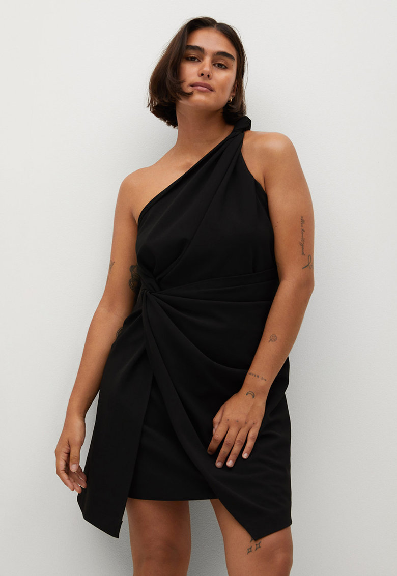 Rochie asimetrica cu decolteu pe umar Natasha VIOLETA-BY-MANGO