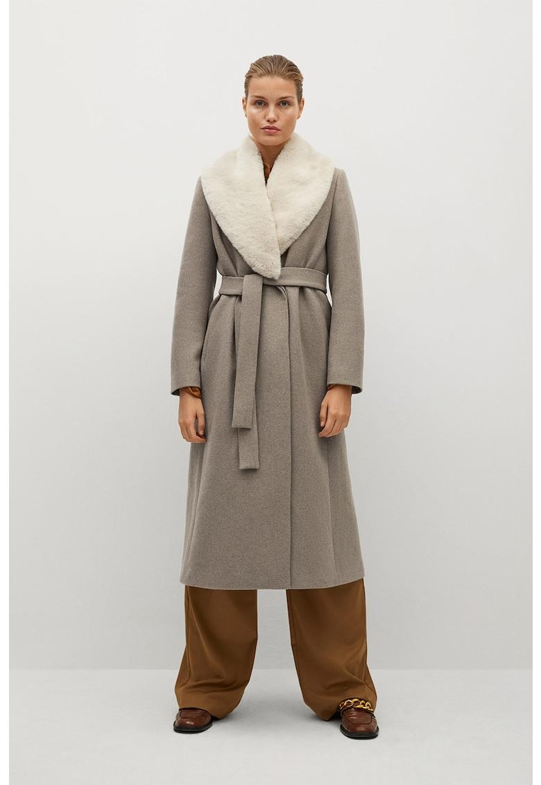 Palton din amestec de lana cu guler detasabil de blana sintetica Hilton