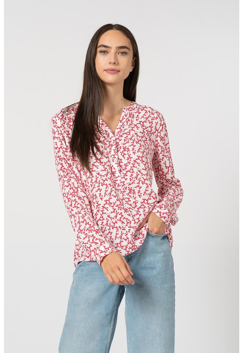 Bluza cu imprimeu floral si fenta cu nasturi
