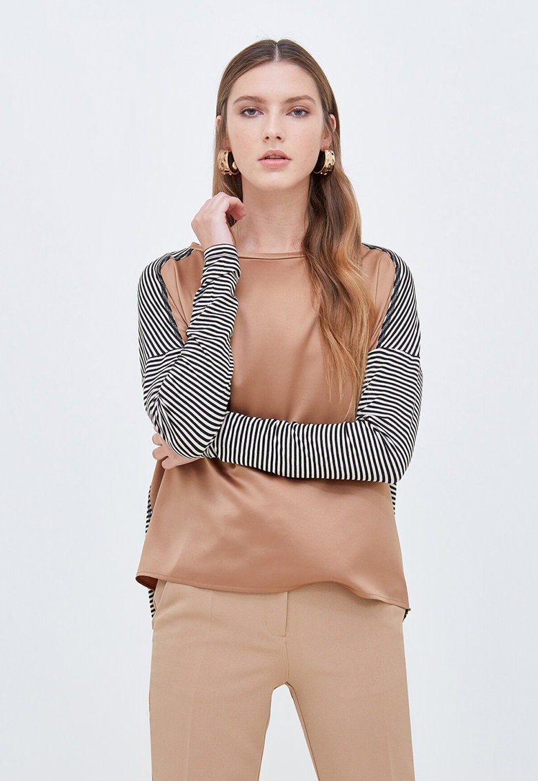Bluza din jerseu si satin imagine