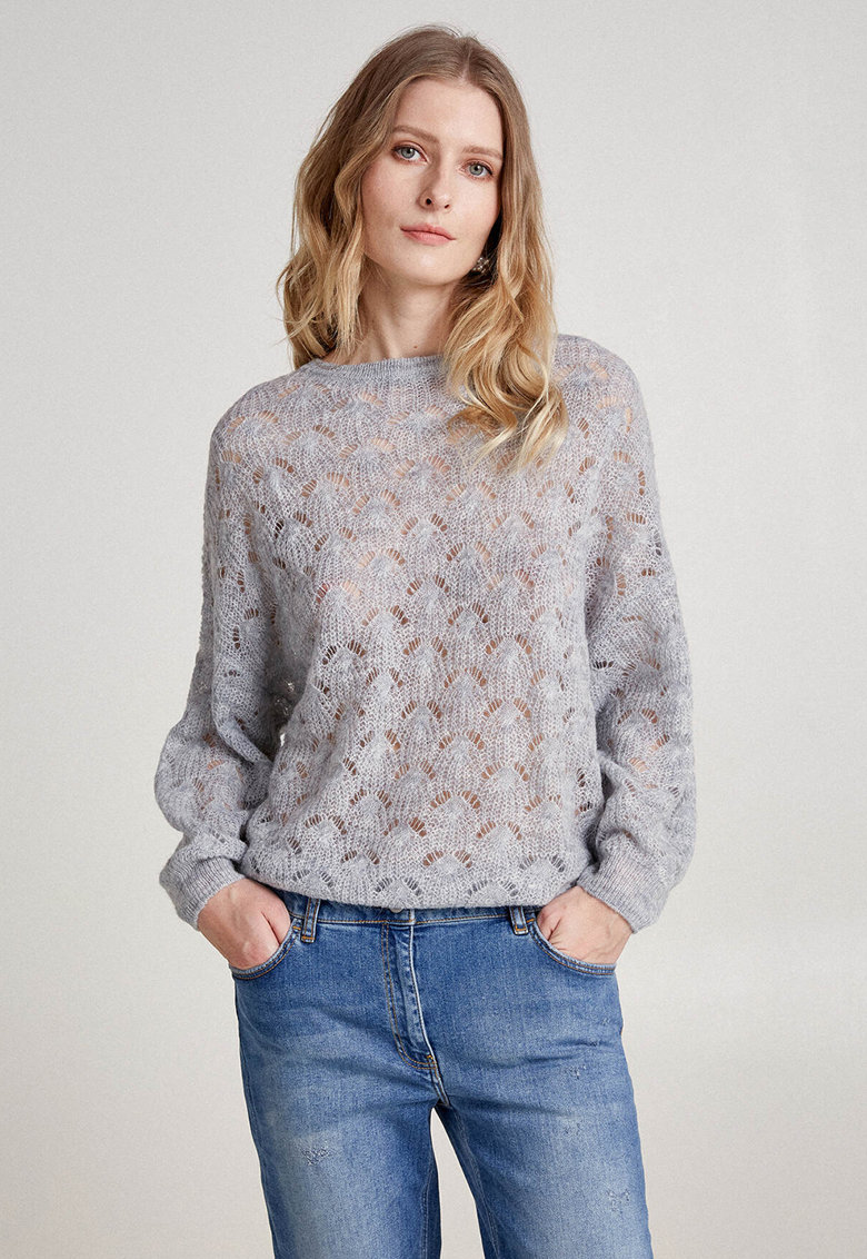 Pulover din amestec de mohair tricotat fin