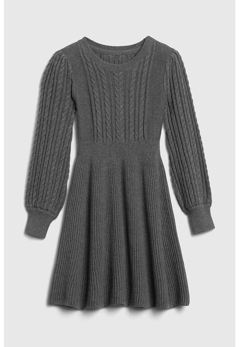 Rochie tip pulover cu croiala evazata si model torsade