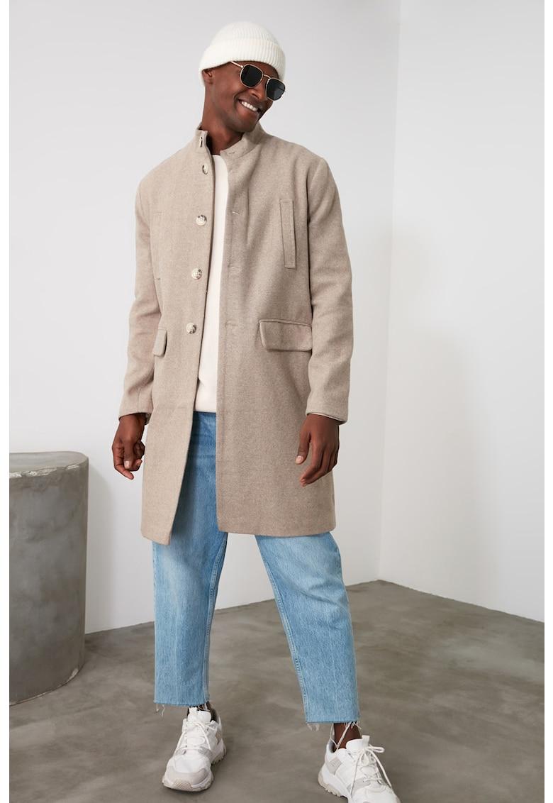 Palton cu guler tip tunica si nasturi imagine
