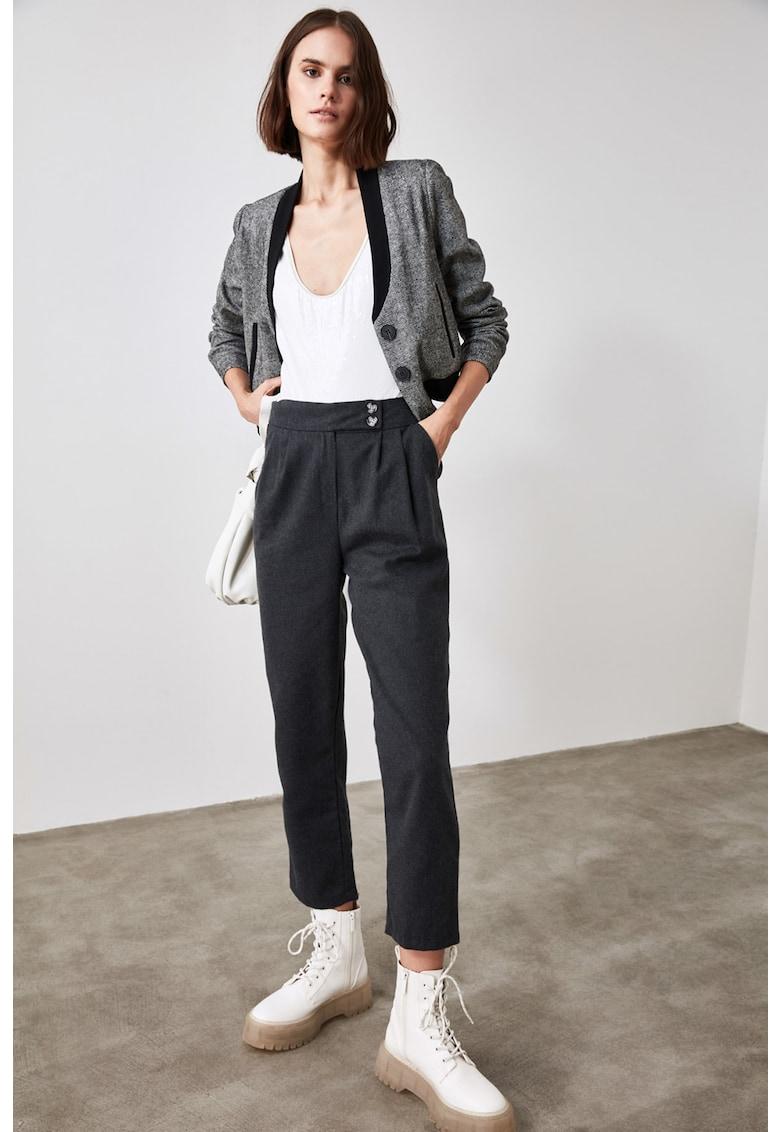 Pantaloni crop cu talie inalta 3 imagine fashiondays.ro