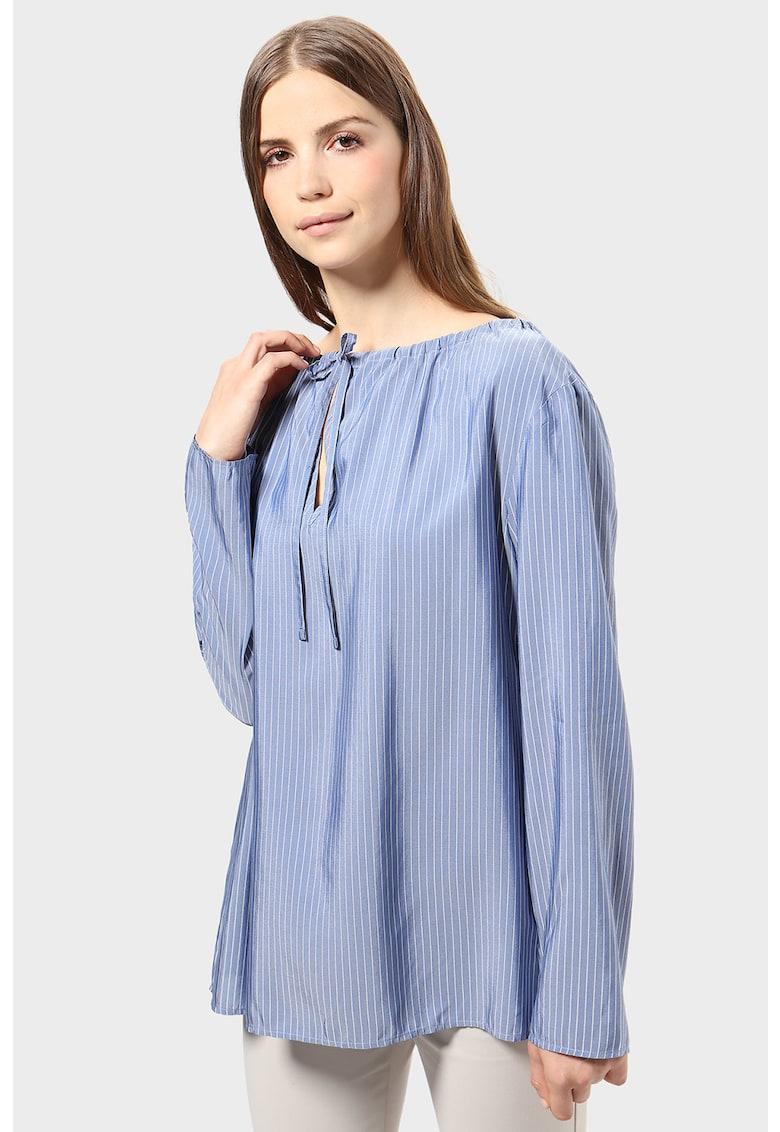Bluza tip tunica cu model in dungi si snur pe decolteu imagine