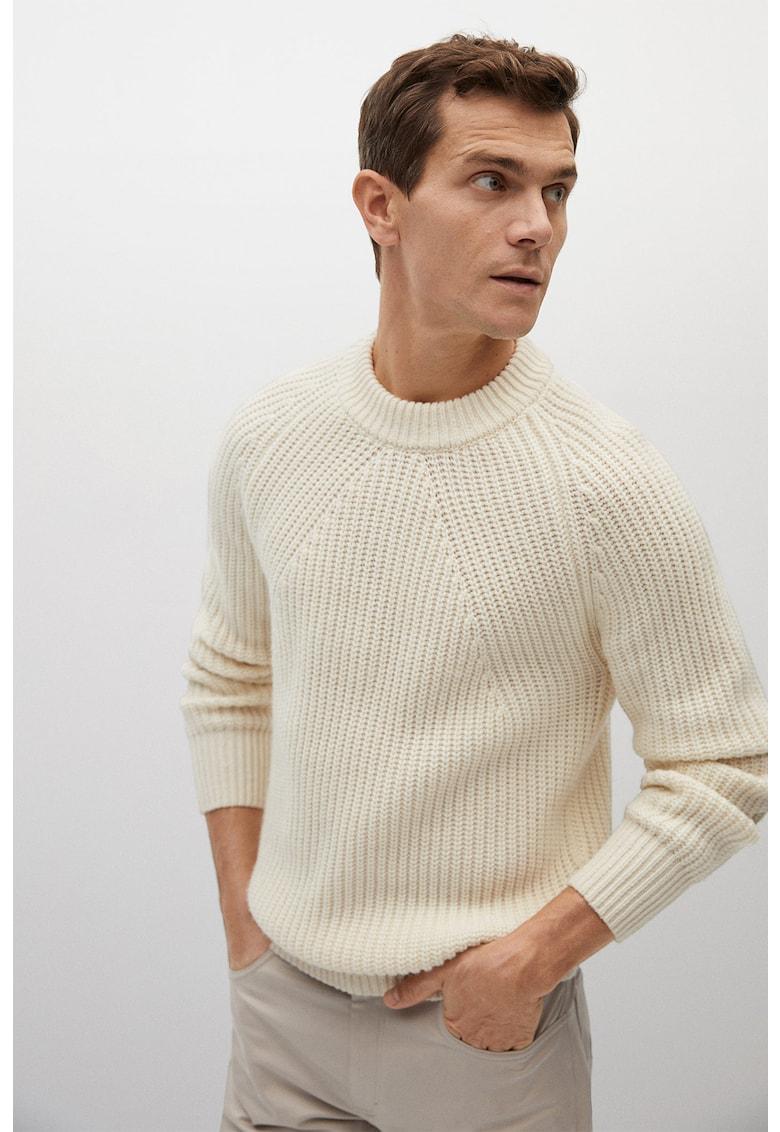 Pulover din amestec de lana cu decolteu la baza gatului Marlon