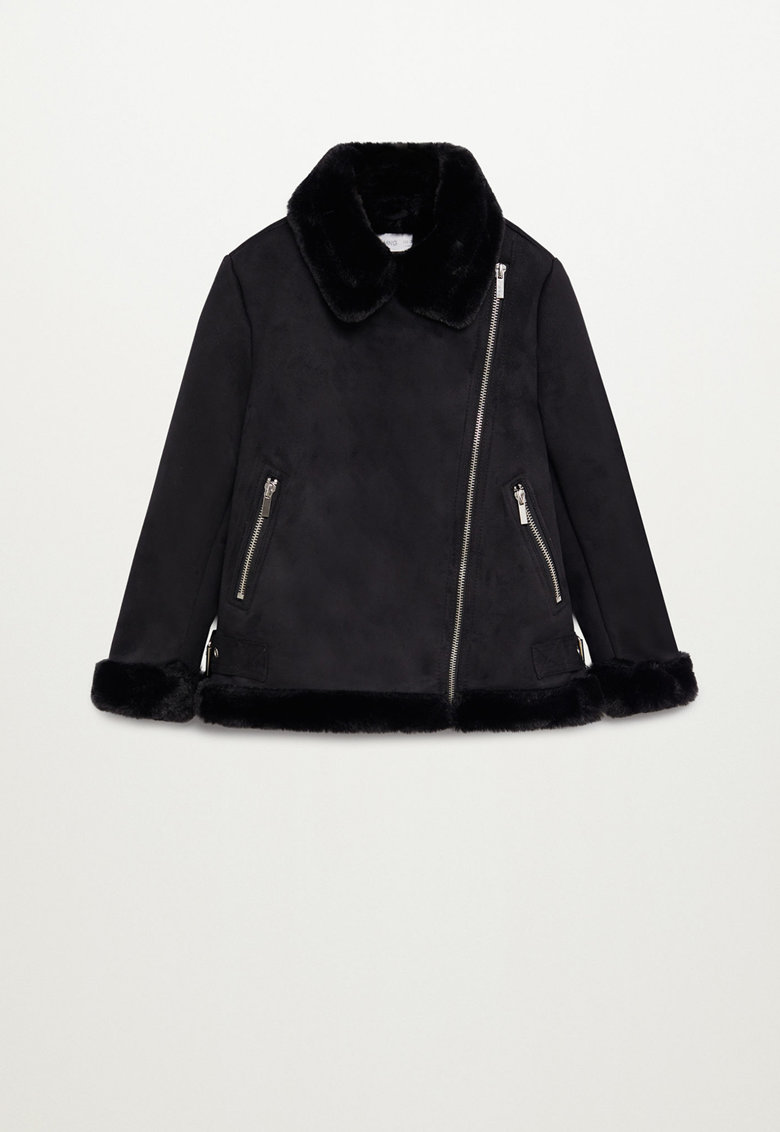Jacheta de piele intoarsa sintetica cu garnituri de blana sintetica Pink