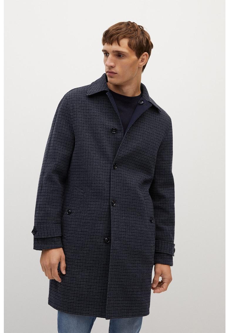 Palton din amestec de lana cu model reversibil