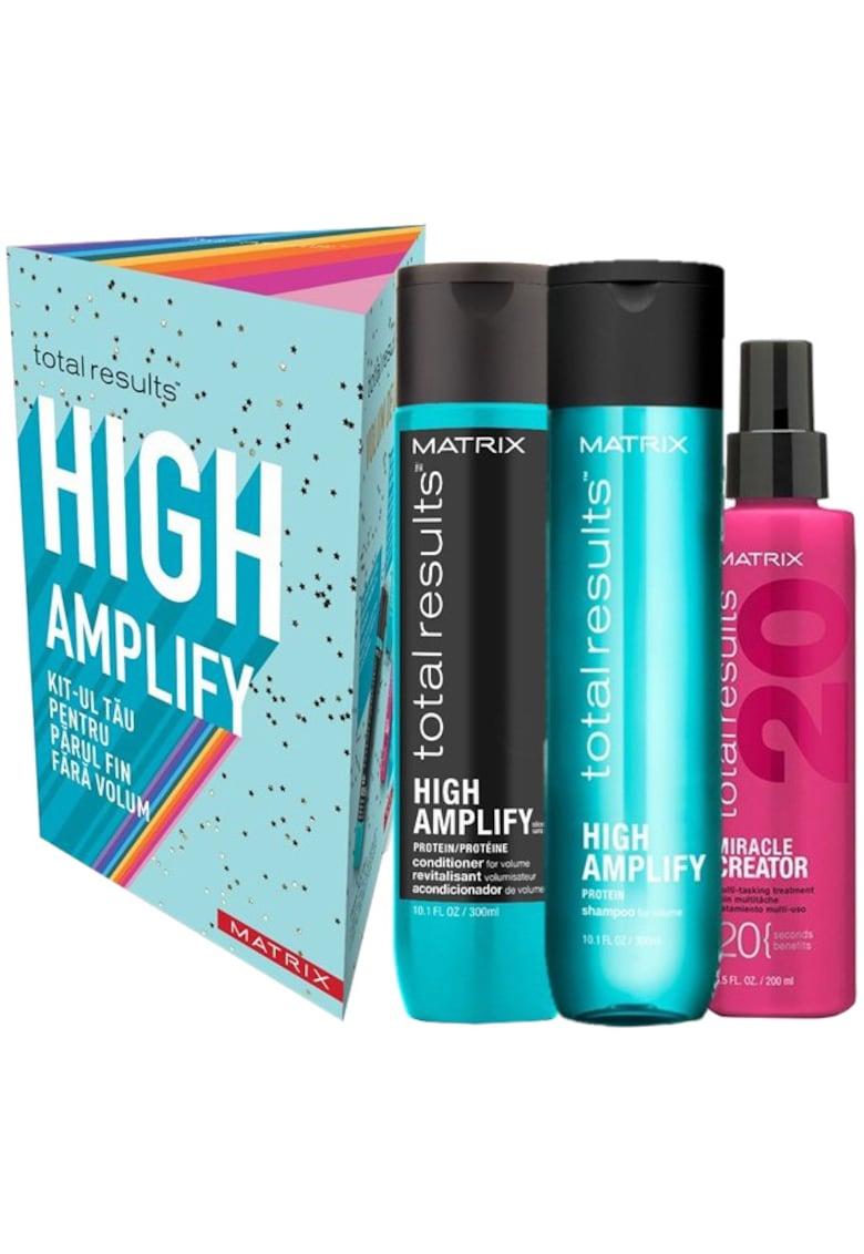 Trusa  Total Results HighAmplify pentru par fara volum: Sampon - 300 ml + Balsam - 300 ml + Spray Matrix Total Results Miracle Creator 20 - 200ml
