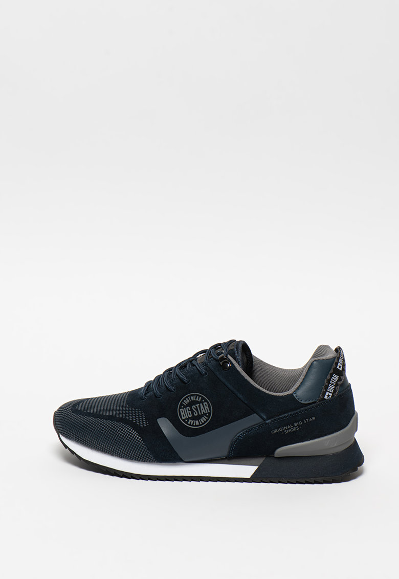 Pantofi sport de piele ecologica si piele intoarsa - cu logo imagine