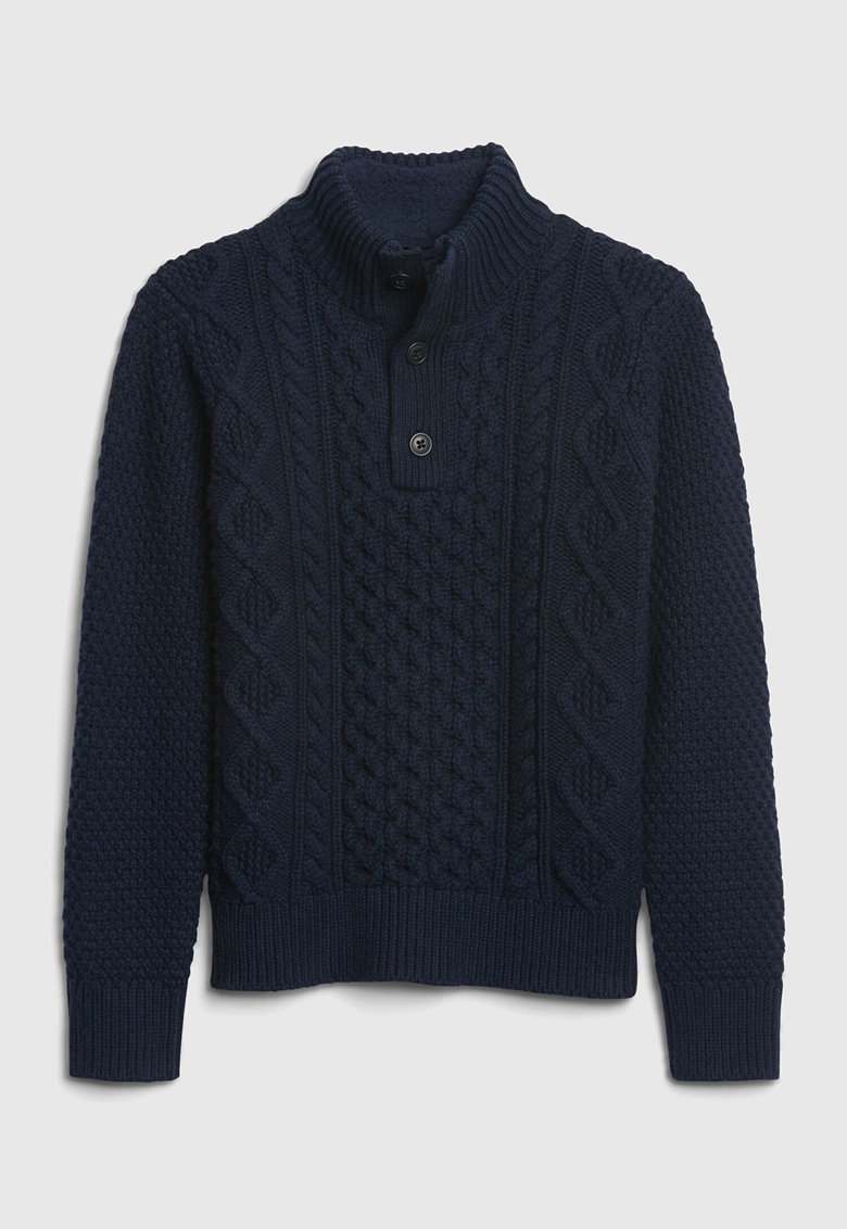 Pulover din amestec de lana cu model torsade imagine promotie