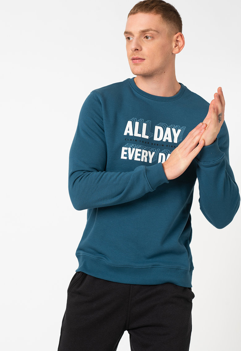 Bluza sport cu decolteu la baza gatului si imprimeu text imagine