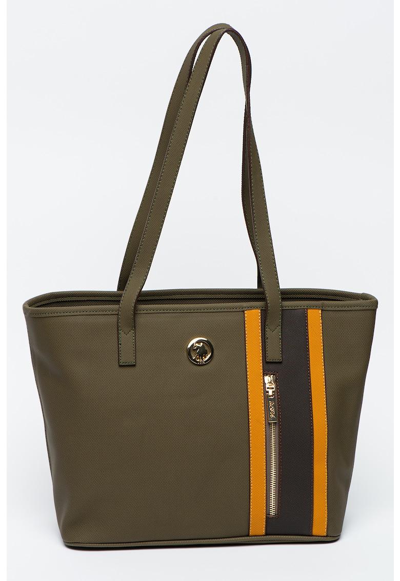 Geanta shopper cu accente cu model in dungi fashiondays.ro