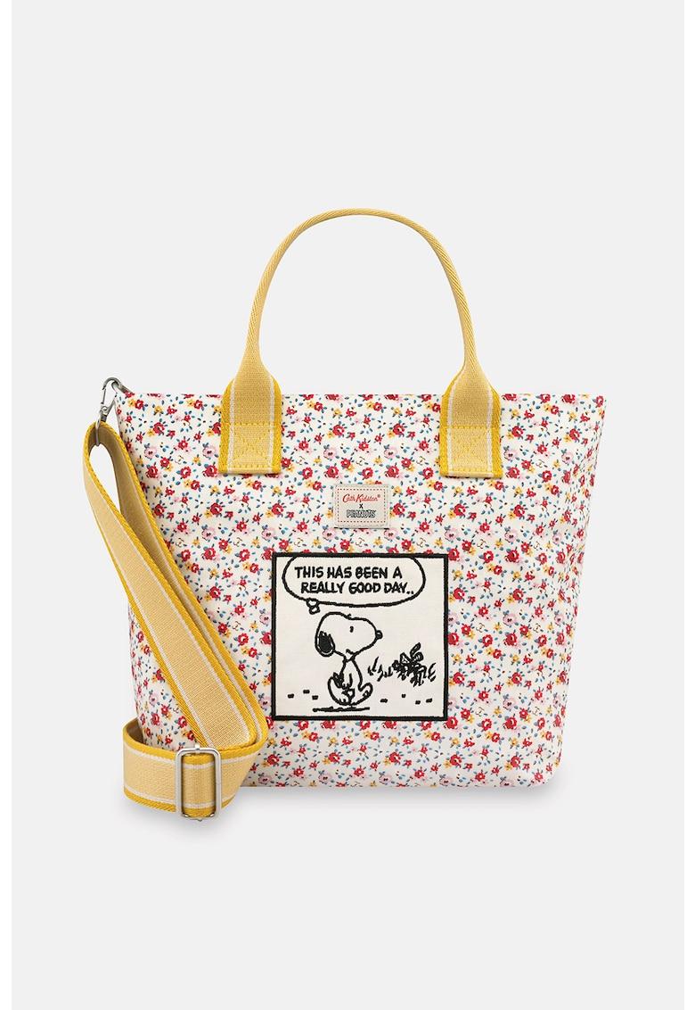 Geanta tote cu model floral si aplicatie Snoopy Cath Kidston fashiondays.ro