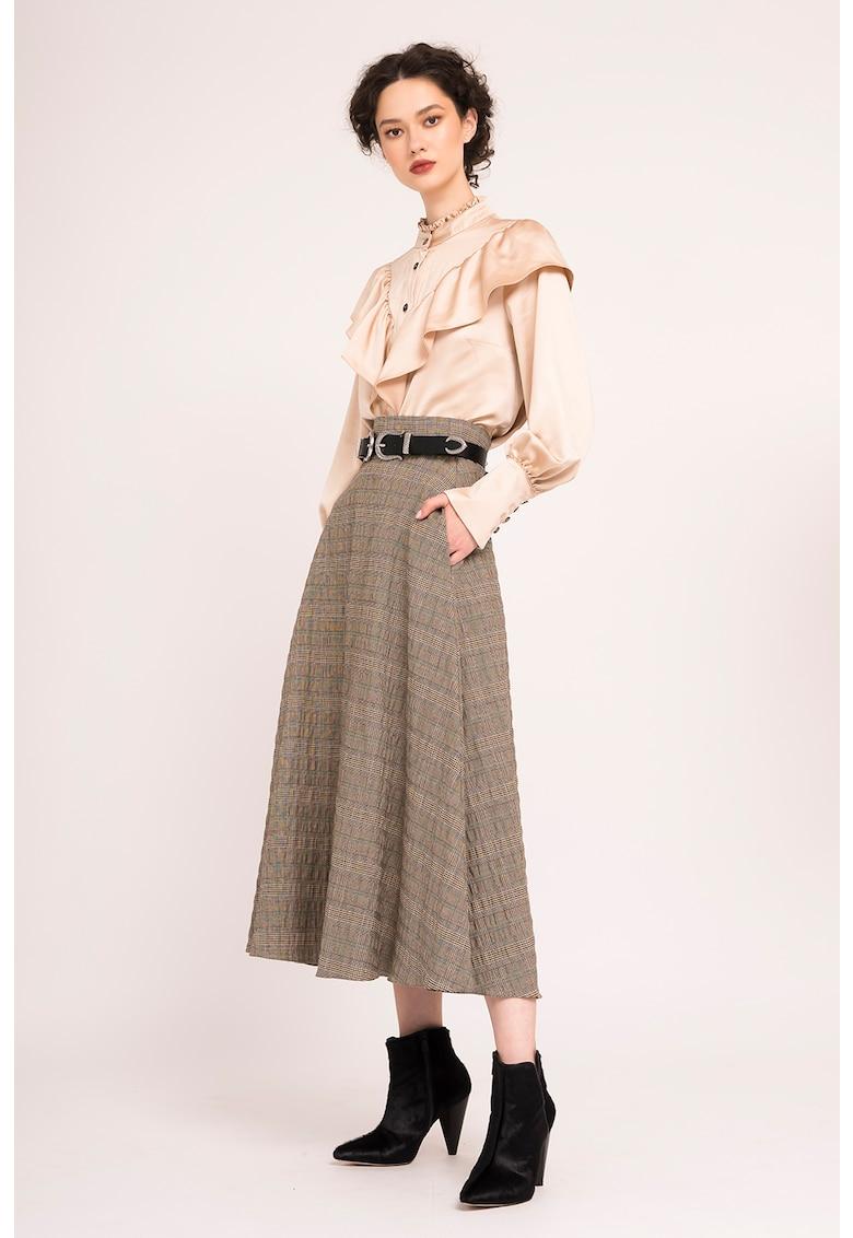 Fusta midi din amestec de lana cu model in carouri imagine promotie