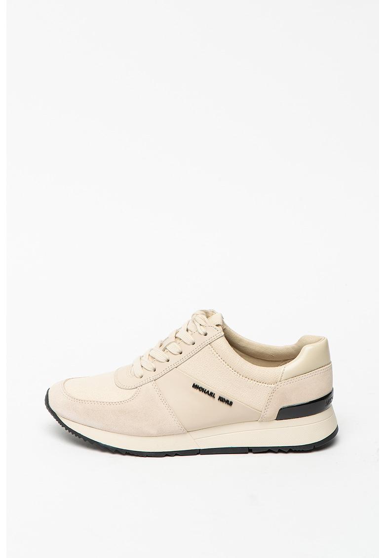 Pantofi sport de piele intoarsa cu insertii de material textil Michael Kors fashiondays.ro