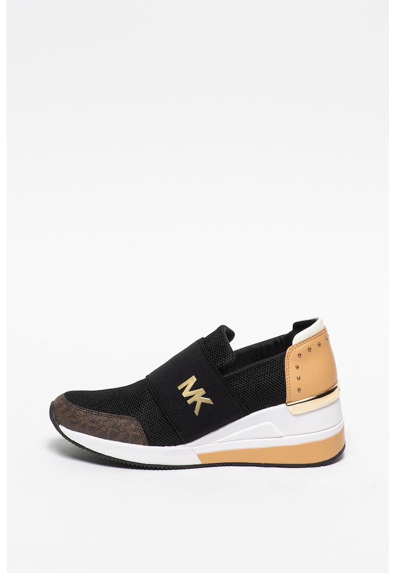 Pantofi sport slip-on de piele si material textil