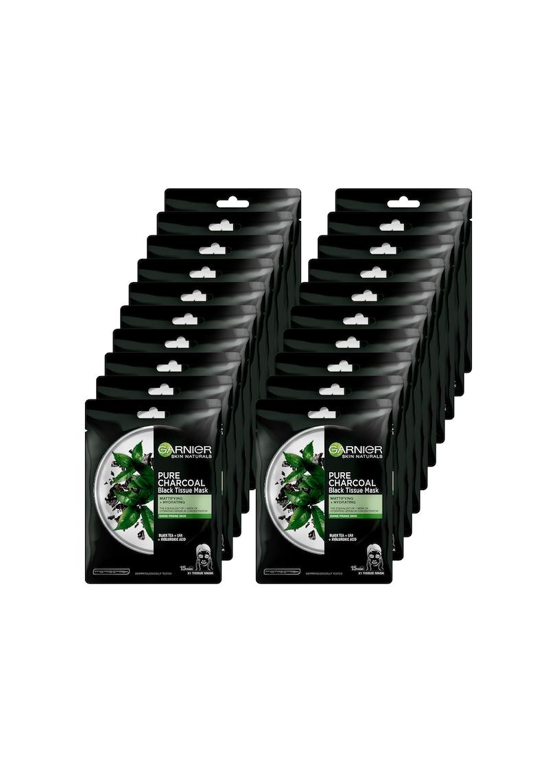 Garnier Pachet promo : 20 x Masca servetel Pure Charcoal cu ceai negru - 28 g