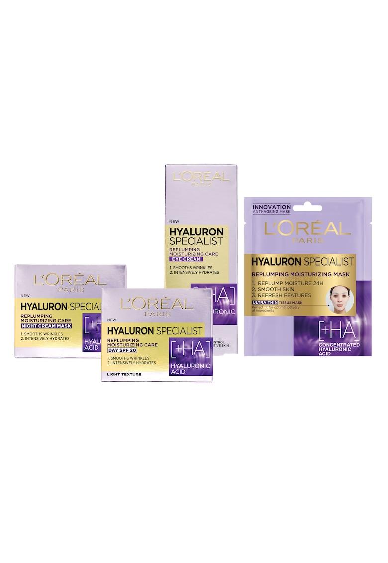 LOreal Paris Set ingrijire ten  Hyaluron Specialist cu acid hialuronic: Crema antirid de zi - 50 ml + Crema antirid de noapte - 50 ml + Crema antirid de ochi - 15 ml + Masca servetel hidratanta pentru volumul tenului - 32 g