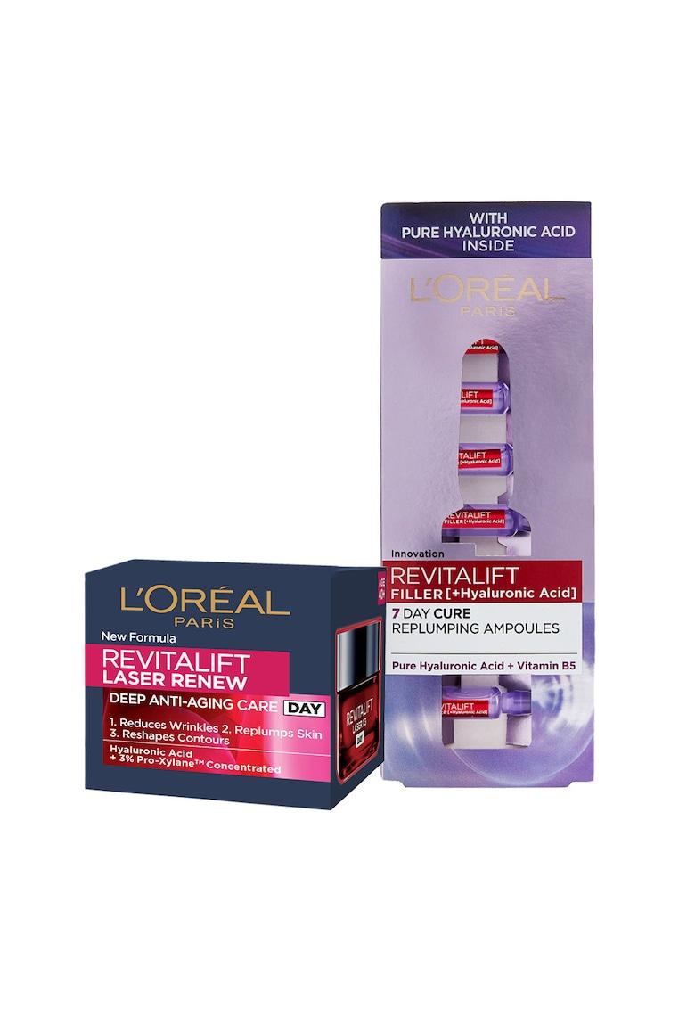LOreal Paris Set ingrijire ten : Ser fiole antirid Revitalift Filler cu acid hialuronic - 7 x 1.3 ml + Crema antirid de zi Revitalift Laser Renew - 50 ml