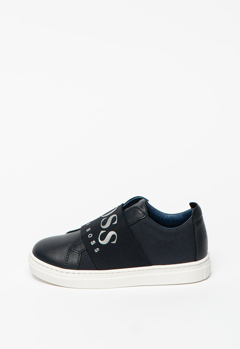 Pantofi sport slip-on de piele si material textil - cu banda cu logo Boss-Hugo-Boss imagine 2021