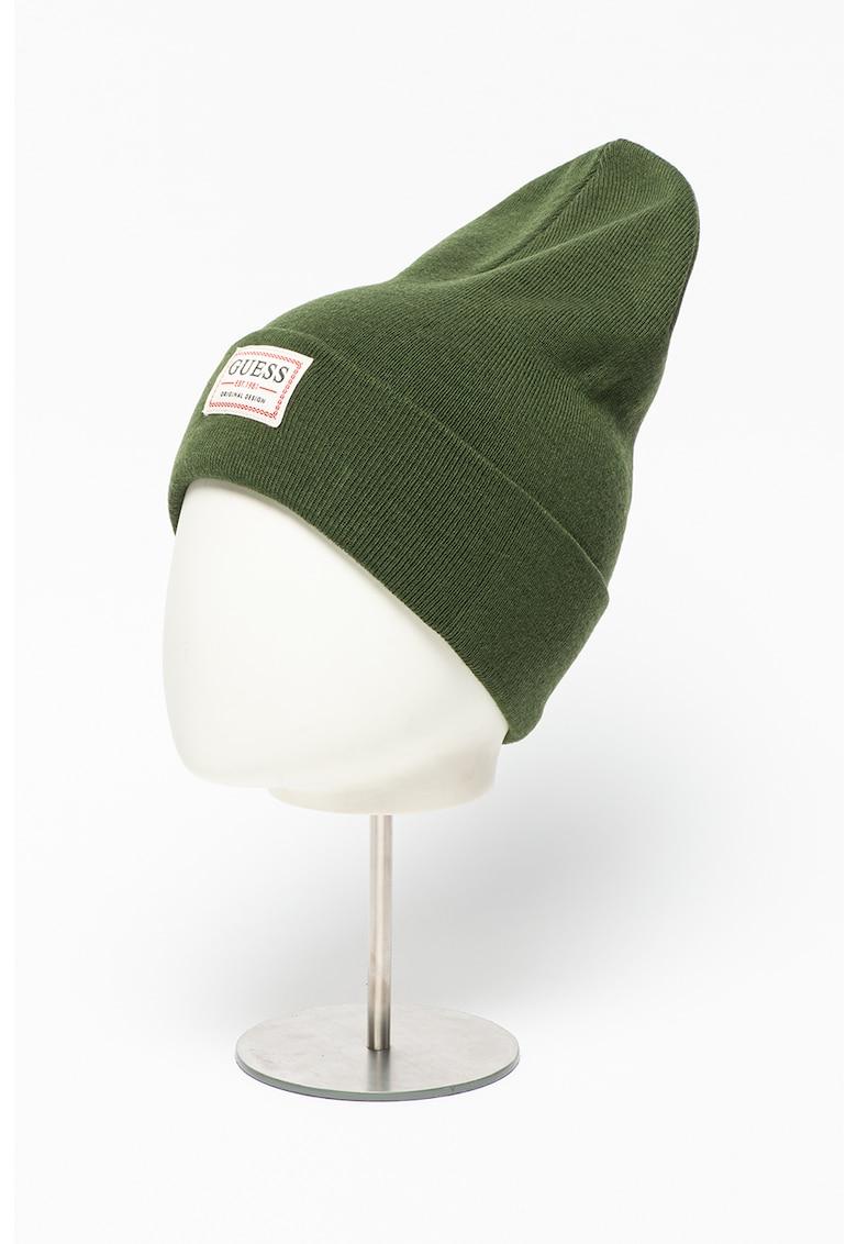 Caciula elastica din amestec de lana cu aplicatie logo imagine