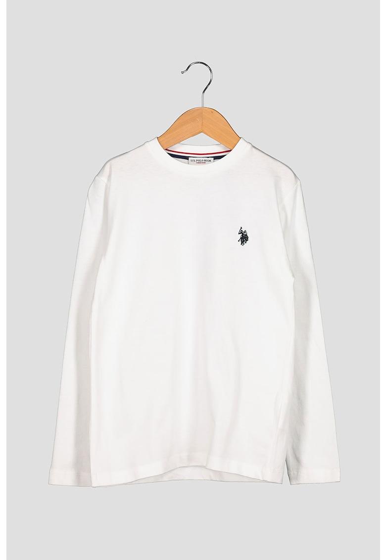 Bluza cu decolteu la baza gatului si broderie logo pe piept imagine