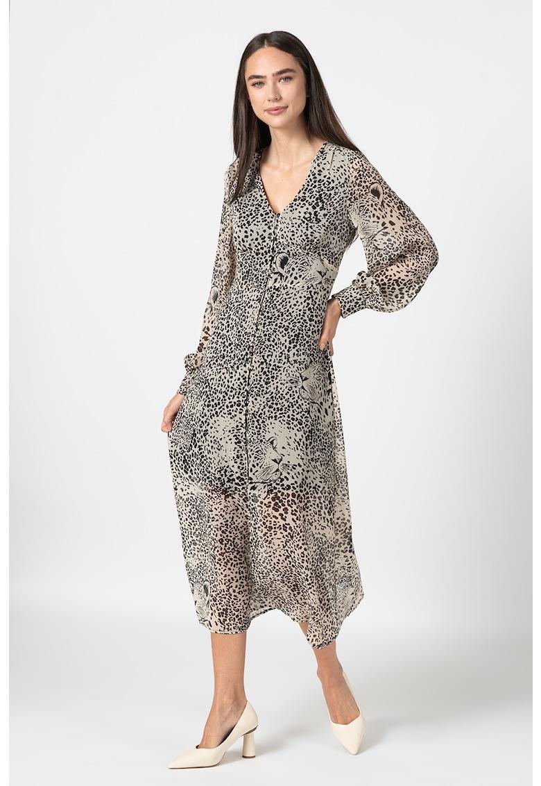 Rochie tip camasa cu animal print si strat exterior semitransparent