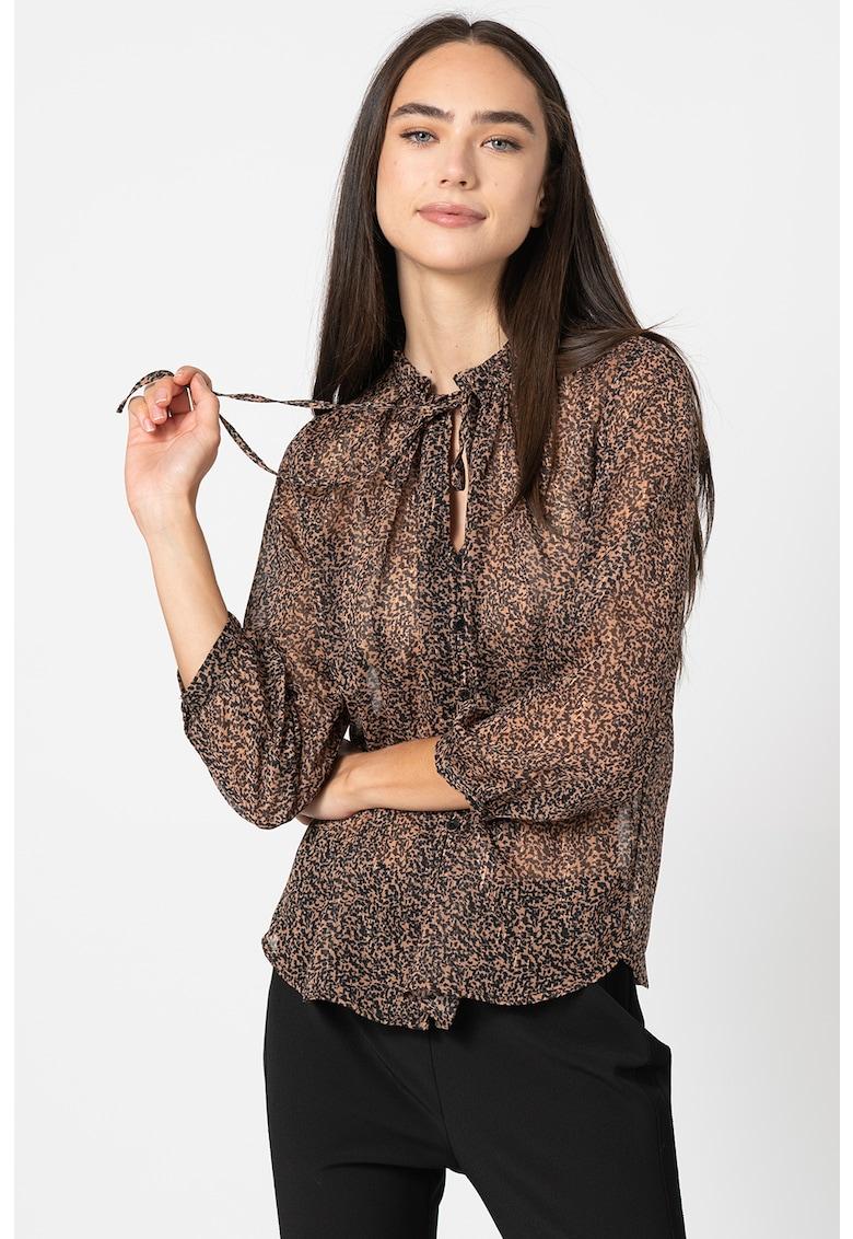 Bluza cu design semitransparent si animal print imagine