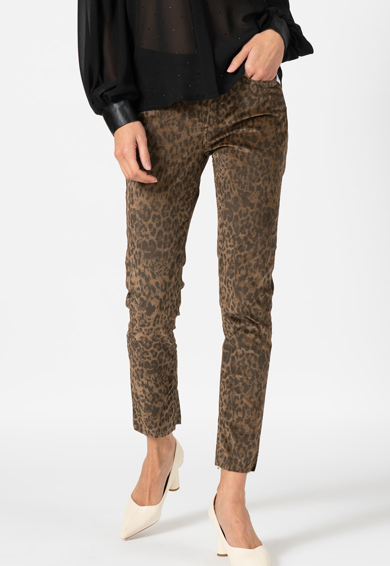 Pantaloni catifelati cu animal print